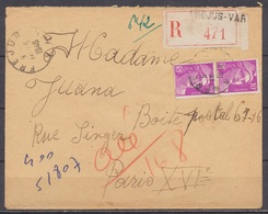 FRANCE - 14.8.1948, Reco Cover From FREJUS (Var)  To PARIS 16 - 1921-1960: Modern Period