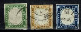 Sardegna 1855/63 Yv. 10, 11, 12 ( 7 Scans.) Used - Sardaigne