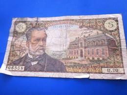 Billets De Banque Bank Billet France  1967 ''Francs''  5 F 1966-1970 ''Pasteur'' état Voir Photos - 1962-1997 ''Francs''
