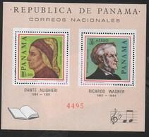 PANAMA - 1966 - DANTE ALIGHIERI - RICCARDO WAGNER - FOGLIETTO NUOVO ** (MICHEL 47) - Celebrità