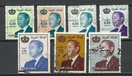 Marokko Marocco 1980er Jahren, König King Hassan II, 7 Marken, O - Marokko (1956-...)