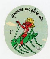 FRANCE - VIGNETTE AUTOCOLLANTE 5,5X6,5 CM -  JEUNESSE EN PLEIN AIR - Erinnophilie
