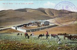 "3443 Cpa Israel - Han El Ahmar, Sur La Route De Jéricho "" Cachet Tirailleurs Malgaches "" - Israel"