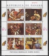 PANAMA - 1968 - LA MUSICA NELLA PITTURA - FOGLIETTO NUOVO ** (MICHEL KL 1087/1092) - Arte