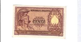 100 Lire 1951 Italia Elmata Scritta 1953 Al R.  LOTTO 2690 - [ 2] 1946-… : République