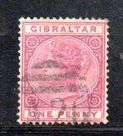 APR2141 - GIBILTERRA 1886 , Unificato N. 9  Usato  (2380A) . CA - Gibilterra