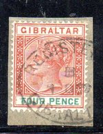 APR2144 - GIBILTERRA 1898 , Pence Unificato N. 34  Usato  (2380A) . CA - Gibilterra