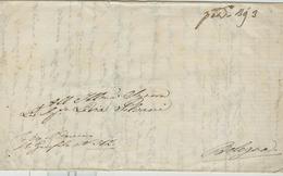STATO PONTIFICIO - PREFILATELICA CON TESTO,1840 ??, PER BOLOGNA, TASSATA BAJ 3, - Italia