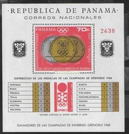 PANAMA - 1968 - GIOCHI OLIMPICI INVERNALI '68 - MEDAGLIERE - FOGLIETTO NUOVO ** (MICHEL BL 92) - Inverno1968: Grenoble
