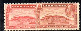 APR2154 - GIBILTERRA 1931 , Due Valori * Linguella  (2380A) . Dent 14 - Gibilterra