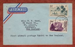 Erstflug TEAL Papeete Tahiti - Auckland, Luftpost Mit Inhalt, Auslegerboot U.a., 1952 (77657) - Luftpost