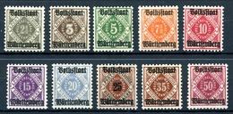 Württemberg Dienstmarken MiNr. 134-43 Postfrisch MNH (AD34 - Wuerttemberg