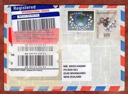 Luftpost, Einschreiben Reco, Kricket-WM U.a., Villiersdorp Nach Whangarei Ca. 2010 (77659) - Storia Postale