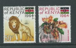 Kenya 1964 Republic 50c Lion & 2/50 Flower FU - Kenya (1963-...)