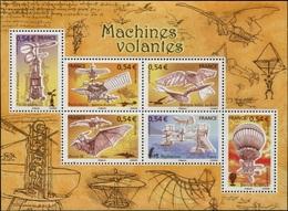 FRANCE Bloc  103 ** MNH Machines Volantes Ader Fabre Santos-Dumont Amécourt Blanchard Le Bris  Hélicoptère Avion - Mint/Hinged