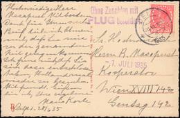 Ohne Zuschlag Mit FLUG Befördert Auf AK Niederlande DELFT 28.5.1935 Nach Wien - Francobolli