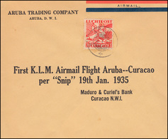 KLM-Erstflug Aruba-Curacao Mit Flugzeug SNIP Schmuckbrief ARUBA 19.1.1935 - Posta Aerea
