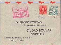 KLM-Erstflug 4.1.1940 Curacao-Trinidad-Venezuela Bf. CURACAO WILLEMSTAD 3.1.40 - Luchtpost