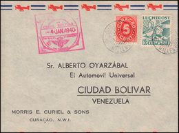 KLM-Erstflug 4.1.1940 Curacao-Trinidad-Venezuela Bf. CURACAO WILLEMSTAD 3.1.40 - Luftpost