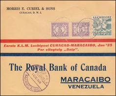 KLM-Erstflug Curacao-Maracaibo Mit Flugzeug SNIP Schmuckbrief CURACAO 14.1.1935 - Luchtpost