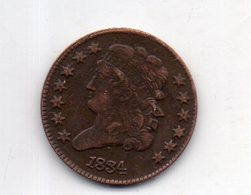 USA : 1/2 Ct 1834 - Émissions Fédérales