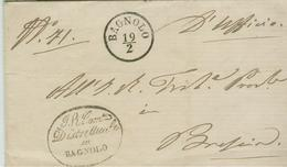 REGNO LOMBARDO VENETO-PREFILATELICA, COPERTA, D'UFFICIO,FRANCHIGIA,1854,BAGNOLO MELLA- BRESCIA, NOTA - Lombardo-Veneto