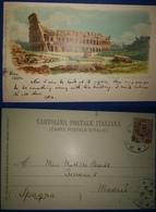ITALIA ITALY ITALIE TARJETA POSTAL POSTCARD ROMA COLISEO COLISEUM CIRCULADA A ESPAÑA 1904 - Colosseum