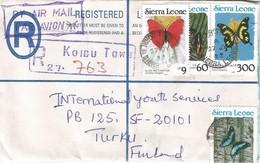 Sierra Leone 1992 Koidu Town Black & Yellow Swallowtail (1990) Butterfly Registered Postal Stationary Cover - Sierra Leone (1961-...)