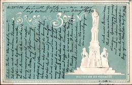 ! Prägekarte Gruss Aus Bozen, Bolzano, Denkmal, Walther Von Der Vogelweide, 1906 - Bolzano (Bozen)