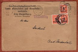 Drucksache, Landesarbeitgeberverband Augsburg, Ziffer Mit Aufdruck, Nach Bad Reichenhall 1923 (77671) - Covers & Documents