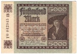 Germany 5000 Mark 1922 Rosenberg №80c /017B/ - 5000 Mark