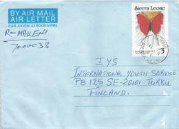 Sierra Leone 1990 Makeni Blood Red Cymothoe Sangaris Le3 Butterfly Registered Aerogramme - Sierra Leone (1961-...)