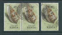 Kenya 1971 Shell Definitives 10 Shillings Single & Pair Postally U , One Of Pair With Corner Crease - Kenya (1963-...)