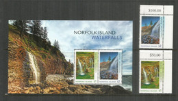 Norfolk Island Waterfalls. Cascades , Série + Bloc-feuillet Neufs ** Hautes Faciales $ 6,00, Année 2017 - Ile Norfolk