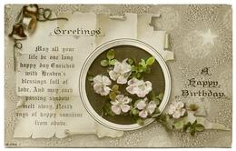 GREETINGS : A HAPPY BIRTHDAY - FLOWERS / SCROLL / BELLS - Birthday