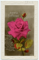 SINCERE BIRTHDAY GREETINGS / RED ROSE (EMBOSSED) / ADDRESS - HADDENHAM, TOWNSEND, AYLESBURY - Birthday