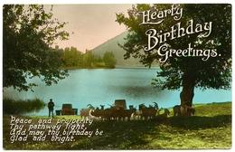 HEARTY BIRTHDAY GREETINGS / ALPINE LAKE WITH MOUNTAIN GOATS AND SHEPHERD - Birthday