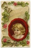CHRISTMAS GREETINGS : LITHOGRAPH - PRETTY GIRL / SCROLL / EMBOSSED - Christmas