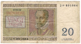 Belgium 20 Francs 1956 (1) P-132 /017B/ - [ 2] 1831-...: Belg. Königreich