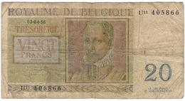 Belgium 20 Francs 1956 (5) P-132 /017B/ - [ 2] 1831-...: Belg. Königreich