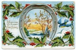 WISHING YOU A MERRY CHRISTMAS - HORSESHOE - WINTRY SCENE / ADDRESS - FLUX, WHEATEN BREAD FARM, LOCKSGREEN, ISLE OF WIGHT - Christmas