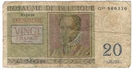 Belgium 20 Francs 1956 (6) P-132 /017B/ - [ 2] 1831-...: Belg. Königreich