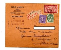 Lettre Recommandee Paris 108 Sur Merson Blanc Semeuse - Marcophilie (Lettres)