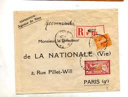 Lettre Recommandee Nice Sur Merson  Semeuse - Marcophilie (Lettres)