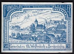 Austria Ober Weissenbach U. Bernhardschlag 1920 / 50 Heller / Gutschein / Kirche / Notgeld, Banknote - Oesterreich