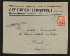 Deutsche Besetzung Elsaß Brief EF Hindenburg Geschäftspapiere Gebr. Ehrhardt - Occupation 1938-45