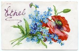 NAMED CARD : ETHEL - GLITTER / POSY OF BLUE FLOWERS / POSTMARK - HULL - Fancy Cards