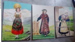 3 Cartoline Costume Della Val D'Aosta NON VIAGGIATE Val Chisone Valle Stretta Gressoney - Costumi