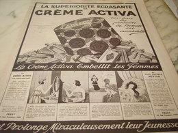 ANCIENNE PUBLICITE  CREME ACTIVA DE FERET 1922 - Perfume & Beauty