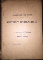 FRANCE INSTITUT D'URBANISME Hazemann  Hygiene Publique Des Vilies   L'UNIVERSITE DE PARIS 1948 - Architecture